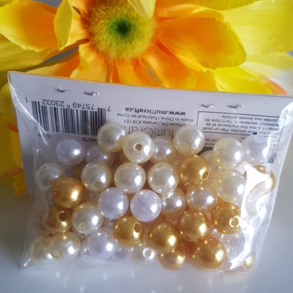 Gold White Cream Glass Seed Beads, 1.2oz (35g)
